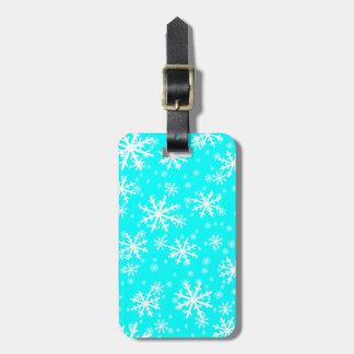 White Snowflakes on Aqua Blue Luggage Tag