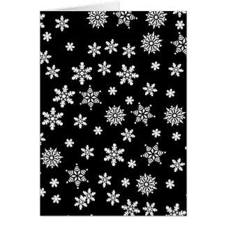 White Snowflakes on Black Background Card