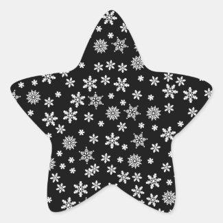 White Snowflakes on Black Background Classic Round Sticker