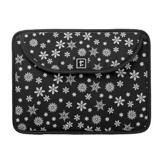 White Snowflakes on Black Background Sleeves For MacBooks