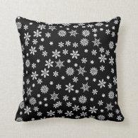 White Snowflakes on Black Background Throw Pillow
