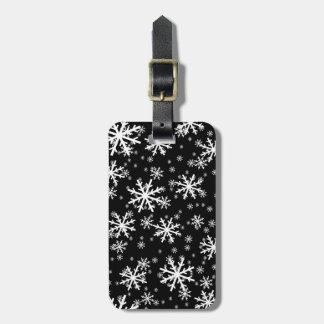White Snowflakes on Black Bag Tag