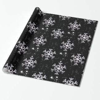 White Snowflakes on Black Christmas Gift Wrap