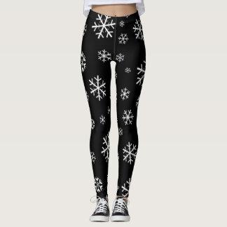 White Snowflakes on Black Leggings