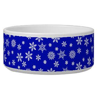 White Snowflakes on Blue  Background Bowl