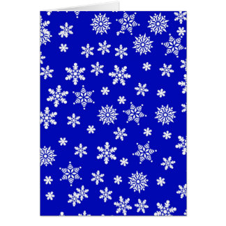 White Snowflakes on Blue  Background Card