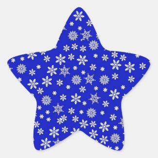 White Snowflakes on Blue  Background Classic Round Sticker