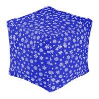 White Snowflakes on Blue  Background Cube Pouf