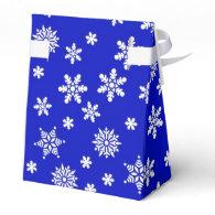 White Snowflakes on Blue  Background Favor Boxes