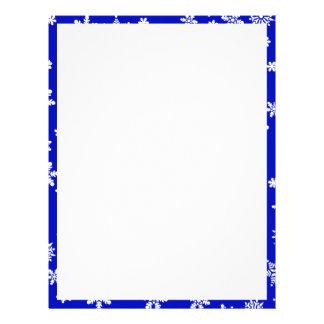 White Snowflakes on Blue  Background Customized Letterhead