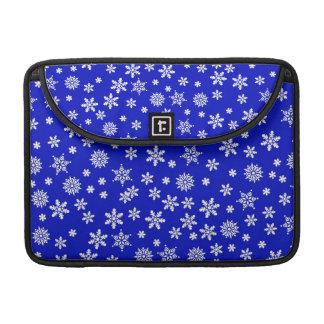 White Snowflakes on Blue  Background MacBook Pro Sleeve