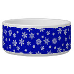 White Snowflakes on Blue  Background Dog Water Bowl