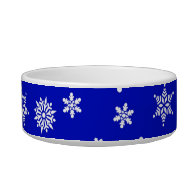 White Snowflakes on Blue  Background Pet Food Bowls