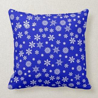 White Snowflakes on Blue Background Pillows