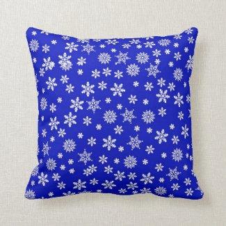 White Snowflakes on Blue  Background Throw Pillow