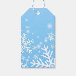 White snowflakes on blue Christmas Gift Tags