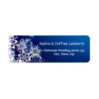 White snowflakes on blue Christmas Label