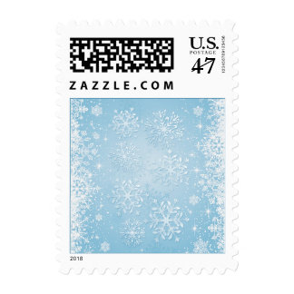 White snowflakes on blue Christmas, New Year Postage