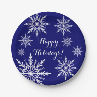 White Snowflakes on Blue Happy Holidays Paper Plate