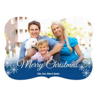 White Snowflakes on Blue Photo Christmas Greeting 5x7 Paper Invitation Card