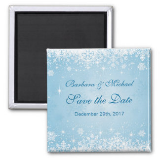 White snowflakes on blue Save the Date Magnet
