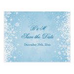 White snowflakes on blue Save the date Postcard