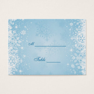 White snowflakes on blue Table Place card