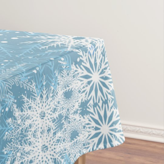 White Snowflakes On Blue Tablecloth Zazzle Com