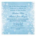 White snowflakes on blue Wedding Invitation