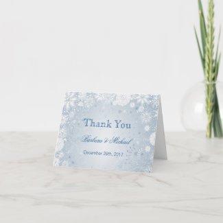 White snowflakes on blue Wedding Thank You Note Card