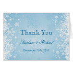 White snowflakes on blue Wedding Thank You Note Greeting Cards