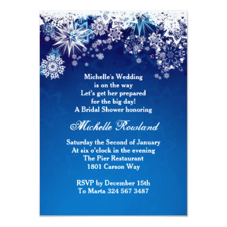 White snowflakes on blue winter Bridal Shower Personalized Invitation