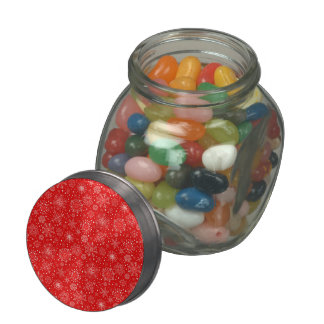 White Snowflakes on Christmas Red Glass Candy Jars