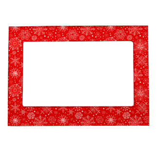 White Snowflakes on Christmas Red Magnetic Picture Frame