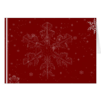 White Snowflakes on Cranberry Red Greeting Greeting Cards