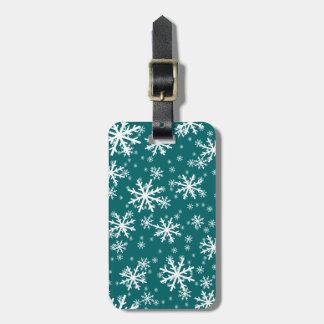 White Snowflakes on Dark Aqua Blue Bag Tag