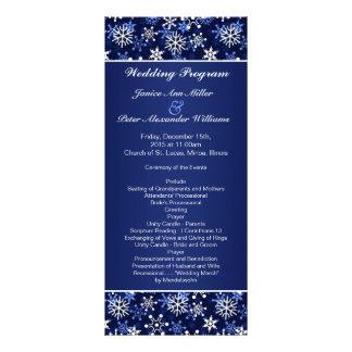 White snowflakes on dark blue Wedding program