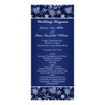 White snowflakes on dark blue Wedding program Full Color Rack Card