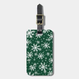 White Snowflakes on Dark Evergreen Green Bag Tag