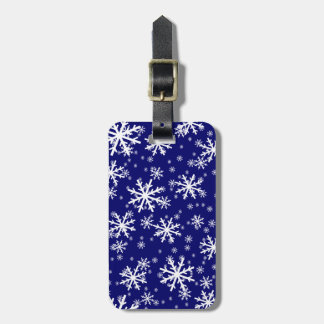 White Snowflakes on Dark Navy Blue Luggage Tag
