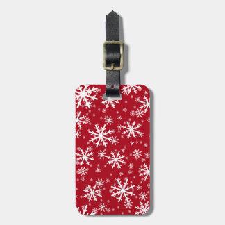 White Snowflakes on Dark Red Bag Tag
