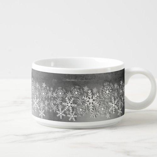 White snowflakes on gray Christmas chilli bowl