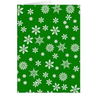 White Snowflakes on Green  Background Card