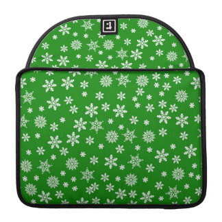 White Snowflakes on Green  Background MacBook Pro Sleeve