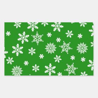 White Snowflakes on Green  Background Rectangular Sticker