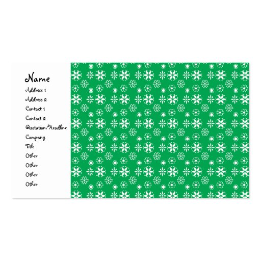 White snowflakes on green business card templates