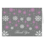 White Snowflakes on Grey Thank You Note Cards