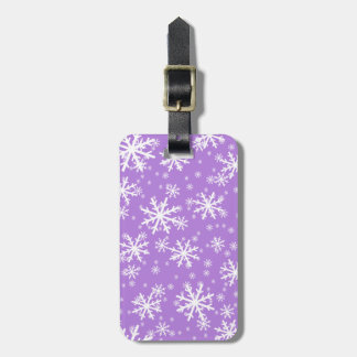 White Snowflakes on Lavender Purple Tag For Luggage
