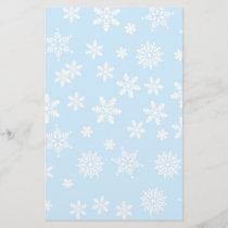 White Snowflakes on Light Blue  Background