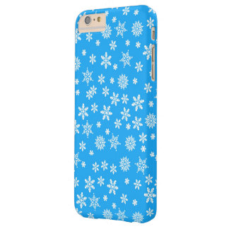 White Snowflakes on Light Blue  Background Barely There iPhone 6 Plus Case